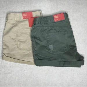 2 pairs khaki Mossimo shorts